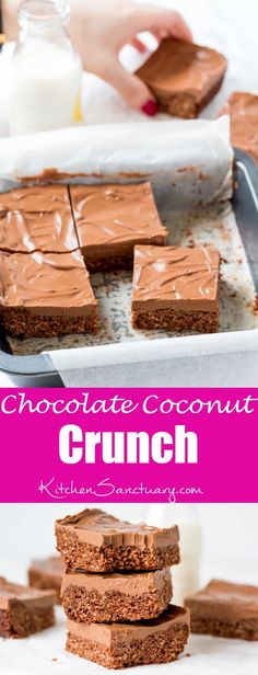 Chocolate Coconut Cr Chocolate Coconut Crunch - my take on the Aussie Crunch we used to get at school. They're crunchy chewy very chocolatey and so addictive! Just Desserts, Delicious Desserts, Dessert Recipes, Yummy Food, Bar Recipes, Recipies, Chocolate Crunch, Chocolate Recipes, Chocolate Coconut Slice