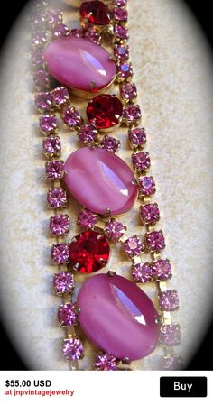 Juliana style pink bracelet-Vintage Bracelet by JNPVintageJewelry Rhinestone Jewelry, Vintage Rhinestone, Pink Diamond Bracelets, Antique Jewelry, Vintage Jewelry, Summer Jewelry, Stone Bracelet, Vintage Costume Jewelry, Vintage Bracelet