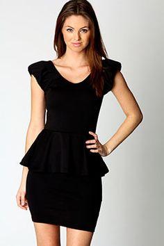 Tamara Shoulder Pad Peplum Dress