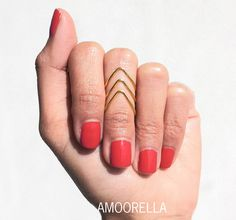 3 Rose Gold Chevron Knuckle Midi Pinky Rings by Amoorella on Etsy