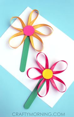 Make Flowers on a Stick Using Ribbon - Crafty Morning