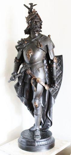PETIT BRONZE. Rei Ricardo, Coração de Leão. Bela e imponente escultura em petit bronze, com escudo e