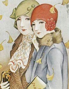 "Kasho Takabatake""Shiwasu no kaze"". Japanese Art Modern, Vintage Japanese, Vintage Prints, Vintage Posters, Gatsby, Painted Hats, Decoupage, Rocker Girl, Polychromos"