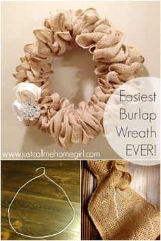 Easiest Burlap Wreath Video Tutorial - Just Call Me Homegirl One of the easiest burlap wreaths ever! There is also a link to the video tutorial. Easiest Burlap Wreat - view more crafts HERE Perfect for any time of year! Just a wire hanger, a roll of burl Easy Burlap Wreath, Burlap Wreath Tutorial, Diy Wreath, Mesh Wreaths, Wreath Making, Burlap Wreaths For Front Door, Burlap Garland, Wreath Ideas, Burlap Projects