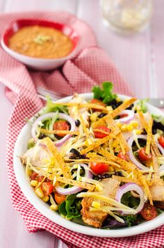 Grilled Chipotle Chicken Tortilla Salad... I plan on lightening this up and testing it for my Shrinking On a Budget Meal Plan