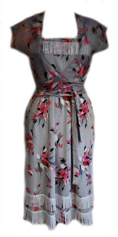 Vintage 1960s Grey & Pink Flapper Style Dress Size 8/10