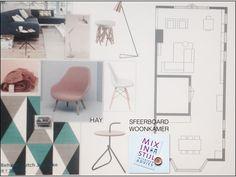 Moodboard sfeer en kleur + indelingsplan - interieur Cindy & Arnold, Bennekom - interieuradvies van Mix in Stijl -  www.mixinstijl.nl