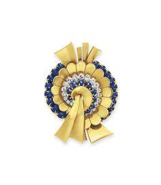 A retro diamond, sapphire and gold brooch, by Boucheron #christiesjewels