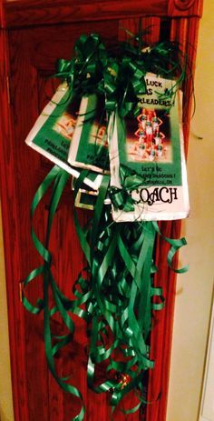 Made our team their own door hanger thingy for our hotel room doors for our upcoming cheer competition