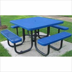 14ta 013 this champion rectangular table is covered with 100 champion 4 square freestanding picnic table expanded metal mesh availability in stock watchthetrailerfo