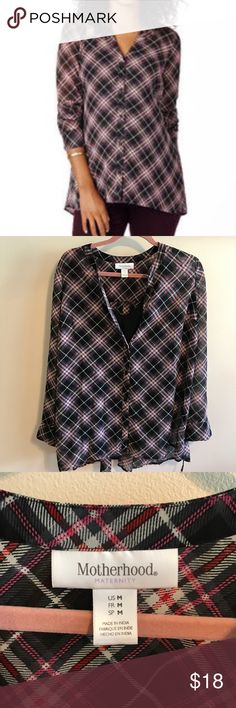 Plaid Button Down Maternity Blouse w/Attached Tank EUC from smoke/pet free home! Plaid Button Down maternity blouse with attached black Tank shirt. Plaid has pink/red/white/black Motherhood Maternity Tops Button Down Shirts