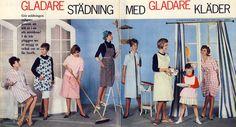 """Reklam för städrockar 1962 - """"Gladare städning med gladare kläder"""""""