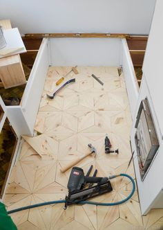 DIY Geometric Wood Flooring for $80!
