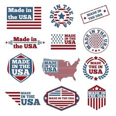 Buy Made In USA Labels by on GraphicRiver. Vector set of made in the USA labels American State Flags, American Logo, American Pride, Badge Design, Flag Design, Free Vector Images, Vector Free, Vector Icons, Political Logos