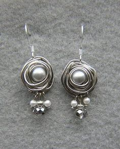 Wire wrapped and pearl beads earrings. Craft ideas from LC.Pandahall.com