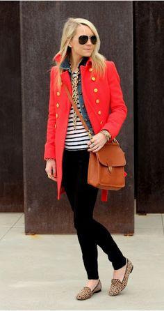 lovin the red coat and crossbody