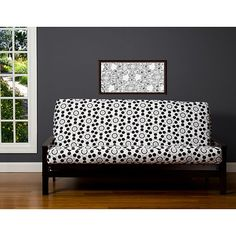 Siscovers Well Rounded Black Grey White 6 Inch Full Size Futon Cover