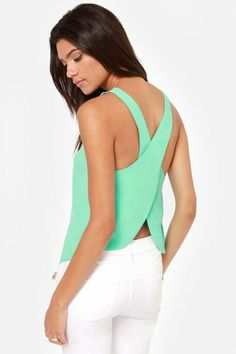 Green Criss Cross Chiffon Vest