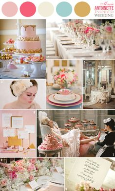 wedding color combination: Marie Antoinette-inspired colors: pinks, blue and gold