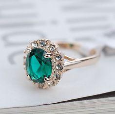 Hot 18k Gold Filled Green Sapphire Engagement Ring Wedding Eternity Love Rings  #WeddingBand #Romantic