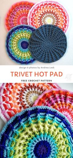 Trivet Hot Pad Free Crochet Pattern Stunning Crochet Mandalas and Potholders. Potholder doesn't have to be boring! This project is the best example of vibrant, fun potholders. They will last you for ages, are easy to make and look just stunning! Crochet Gifts, Knit Crochet, All Free Crochet, Knitting Projects, Knitting Patterns, Diy Crochet Projects, Crocheting Patterns, Knitting Designs, Doll Patterns