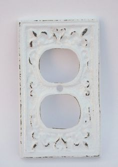 Cast Iron Outlet Cover - Snow White - Electrical Outlet Cover - Shabby Chic - French Inspired - Nursery Decor