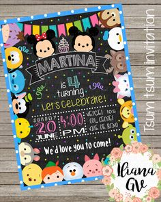 Tsum tsum invitation by IlianaDesign on Etsy Tsum Tsum Birthday Cake, Tsum Tsum Party, 4th Birthday Parties, 3rd Birthday, Birthday Ideas, Happy Birthday, Tsumtsum, Disney Birthday, First Birthdays