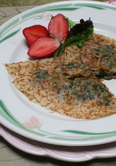 Chickpea Crepes with Spinach, Mushroom, and Pesto