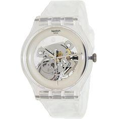 Swatch Men's Originals SUOK105 Clear Plastic Swiss Quartz Watch with Silver Dial
