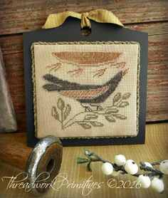 Primitive Cross Stitch Pattern  Sunbird by threadworkprimitives