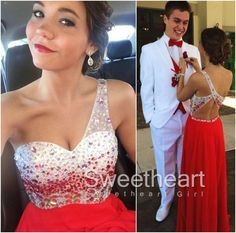 Red A-line one-shoulder sequins Long Prom Dress, Evening Dresse,long prom dress #prom #promdress #promdresses #coniefox #2016prom