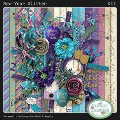 New Year Glitter - digital scrapbook kit with glitter and glam for your celebration pics!