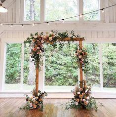 Wooden wedding arch with florals Indoor Wedding Arches, Indoor Wedding Ceremonies, Wedding Ceremony Arch, Ceremony Backdrop, Outdoor Weddings, Wedding Archway Diy, Wooden Arches For Weddings, Table Decoration Wedding, Ceremony Decorations