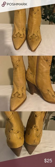 Yellow wedge cowgirl boots Yellow cowgirl boots gently used. Wedged, extremely comfortable soft leather. BCBG Shoes Ankle Boots & Booties