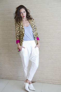 fashion, outfits, maria cher, animal print, white, pants, chic, urban, trends,