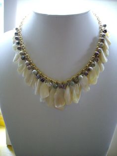 SALE Shell Drops with Jasper Bead Necklace by DesignsbyPattiLynn, $45.00