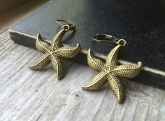 Brass Starfish Earrings With Lever Backs by McHughCreations