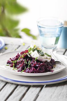 Add vibrancy and flavour to your usual risotto by adding beetroot! Serve with slices of goats' cheese and chopped chives.