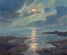"Waugh, Frederick Judd (b,1861)- Low Tide Oil on canvas 25 x 30"" (Have also seen this one titled as 'Risen Moon')"