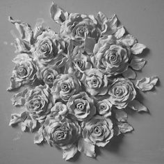 Roses carved in plaster/cement? (Saved from the internet; have lost source) Plaster Art, Love Wall Art, Art Diy, Ornaments Design, Ceramic Flowers, Texture Painting, Wall Sculptures, Clay Art, Wall Design