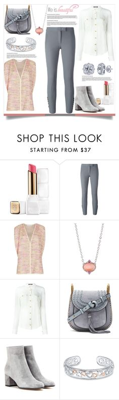 """""""Life Is Beautiful: Pink, Grey & Cream on Tuesday"""" by helenaymangual ❤ liked on Polyvore featuring Guerlain, Joseph, Diane Von Furstenberg, Judith Ripka, Balmain, Chloé, Gianvito Rossi and BERRICLE"""