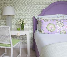 Kerry Hanson Design | Trellis Wallpaper | Purple & Green | Upholstered Headboard | Fabric | White Desk/Side Table