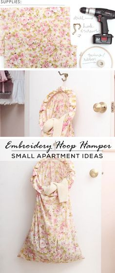 Embroidery Hoop Hamper - DIY Storage Ideas for Small Apartments - Click for Tutorial