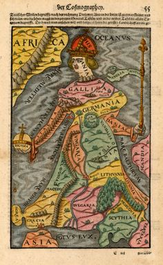 1545 map of Europe represented in the form of a crowned monarch.