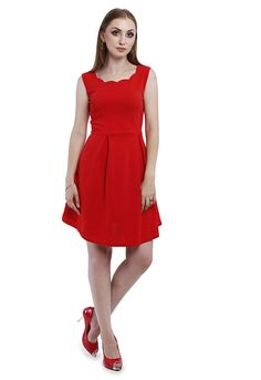 a7384a172c4 Addyvero Women Pigment Red A-line Party Dress  Amazon.in  Clothing    Accessories