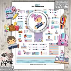 Back to School Stickers, Planner Stickers, School Stickers, Kawaii Stickers, Study, Planner Accessories, College Stickers, Digital Stickers