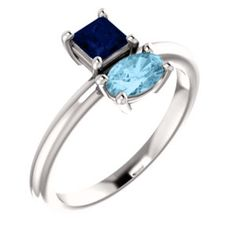 NEW! Blue Sapphire & Aquamarine Two Stone Ring. Click through for product details or to locate a jeweler near you.