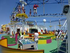 The Carnival Breeze has more than 19,000 total square feet of space catering to children and teenagers. Description from cruises.about.com. I searched for this on bing.com/images