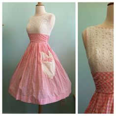 Pink & White Gingham Checkered Cotton Day Dress