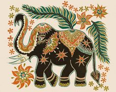 This is a ceramic art tile, size 8x10. It features a Sri Lanka batik design, an elephant decorated in orange, golds and green. This tile comes with a hook